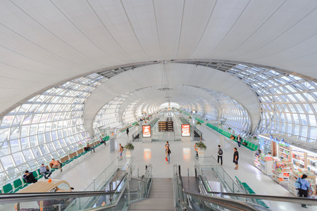 SAMUTPRAKARN, THAILAND - MAY 21: The main concourse of Suvarnabhumi Airport, designed by Helmut Jahn is the worlds third largest single-building airport terminal on May 21, 2015 in Bangkok, Thailand.