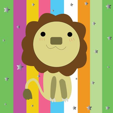 illustration of Lion cartoon.Vector Stock Photo