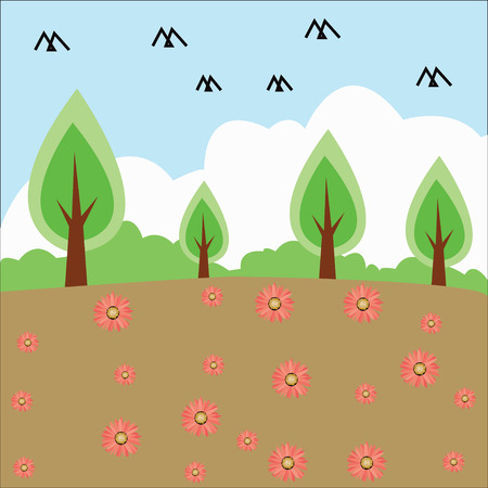 nurseries: Vector trees in silhouettes. Create many more trees with leaves and bare trees on the bottom
