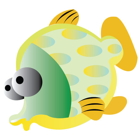 faction: Illustration of the colorful fishes on a white background