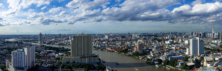 panoramic Bangkok cityscape with Chaopraya river on blue sky day, Bangkok skyline, Bangkok landscape arial view.