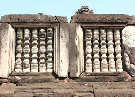 The ancient Khmer damaged by the passage of time Stock Photo