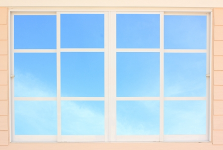 Modern residential window  and sky behind