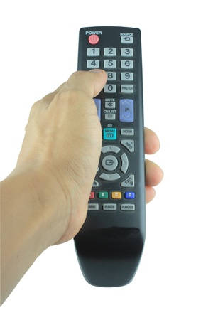 Hand holding remote control  on white background