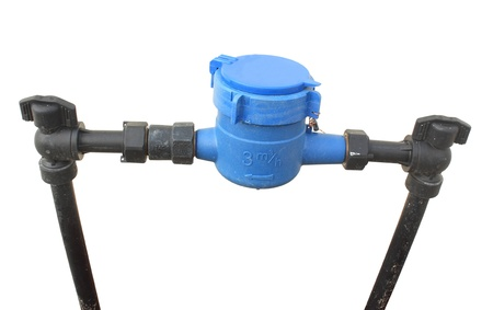 Blue Water meter and Plumbing on white background Stock Photo