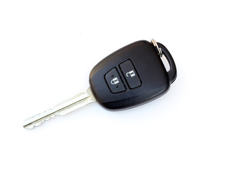 car key remote control on white background