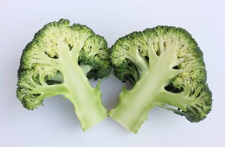 fresh green broccoli on white background Stock Photo
