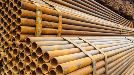 Stained steel pipe Stock Photo