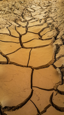 Dry mud at water drainage way