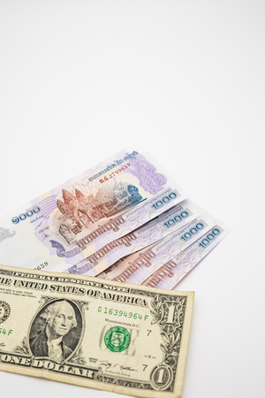 USD and KHR Bank notes
