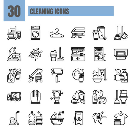 Cleaning, Thin Line and Pixel Perfect Icons