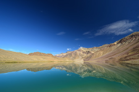 high desert: Beautiful lake in Himalaya mountains, India Stock Photo