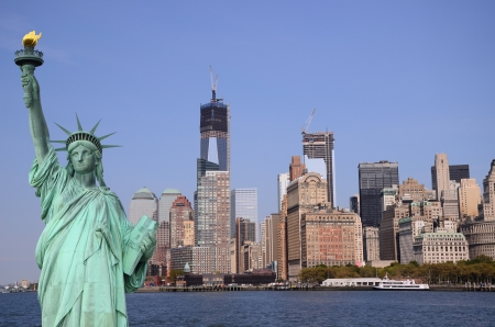 Manhattan Skyline and The Statue of Liberty, New York City Editorial