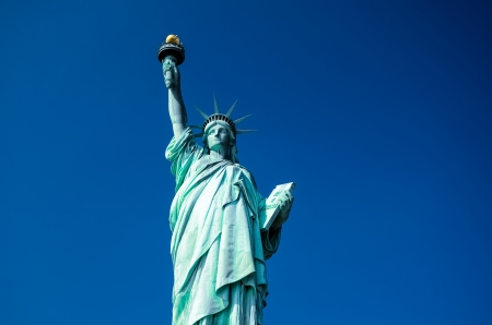 statue of liberty: Statue of Liberty on blue clear sky, New York City, USA