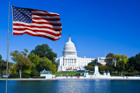 us government: Washington DC, USA Flag and Capitol Building