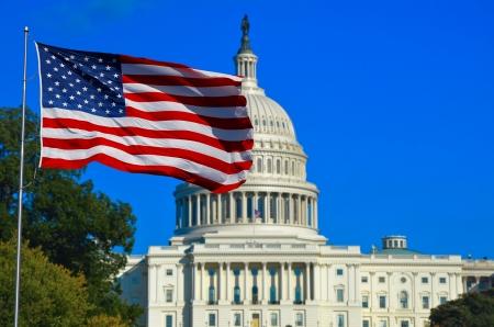 Washington DC, USA Vlag en Capitol Building Stockfoto
