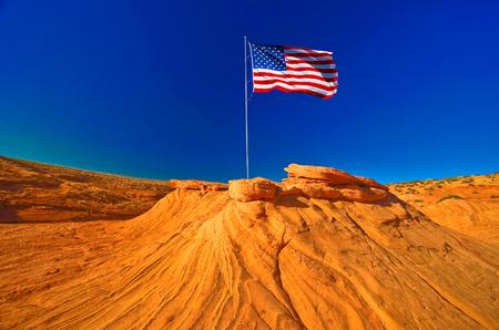 colorado flag: American flag in Grand Canyon, USA Stock Photo