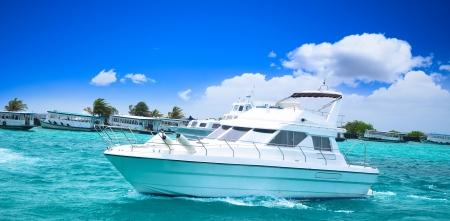 Luxury yatch in beautiful ocean Stock Photo