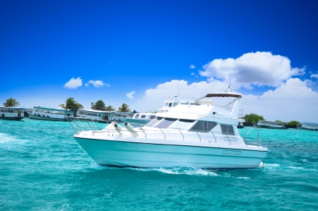 motors: Luxury yatch in beautiful ocean Stock Photo