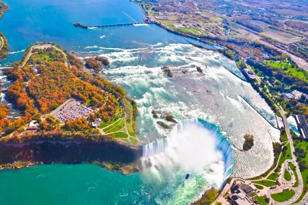 niagara river: Aerial view of  Niagara falls, Canada and United States of America Stock Photo