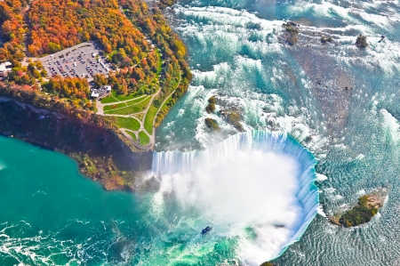 Aerial view of  Niagara falls, Canada and United States of America 写真素材