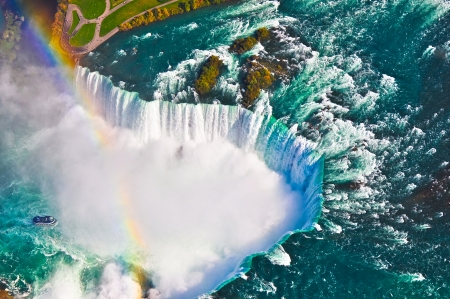 niagara: Aerial view of  Niagara falls, Canada and United States of America Stock Photo