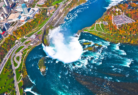 Aerial view of  Niagara falls, Canada and United States of America photo