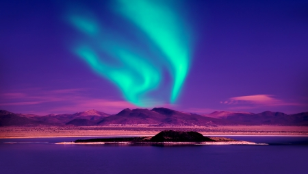 snowscape: Northern Lights aurora borealis Stock Photo
