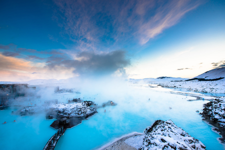 blue: the famous blue lagoon near Reykjavik, Iceland