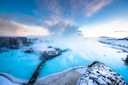 blue background: the famous blue lagoon near Reykjavik, Iceland