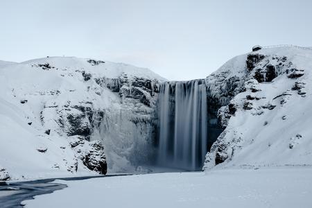 skogafoss waterfall: Skogafoss waterfall in Iceland during winter
