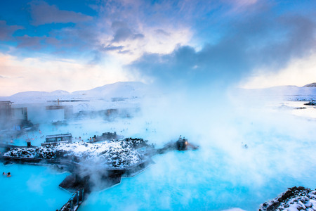 therapy geothermal: Blue lagoon hot spring spa. one of main tourist attraction in Reykjavik, Iceland