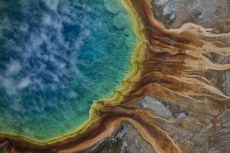 Aerial view of Grand prismatic spring in Yellowstone national park, USA 写真素材