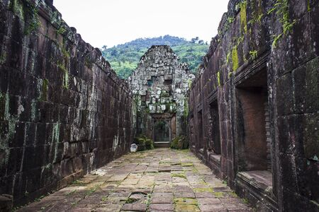 Wat Phu a Hindu temple one of the oldest historic sites in Laos. Banco de Imagens