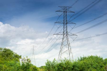 land scape: High voltage pylons Land scape blue sky