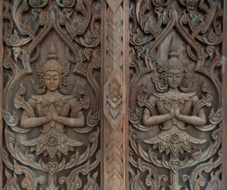 Pattern of thai carved wood photo