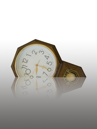 An old clock isolate on white which working hour is about to begin at 8 30 AM Stock Photo - 17079007