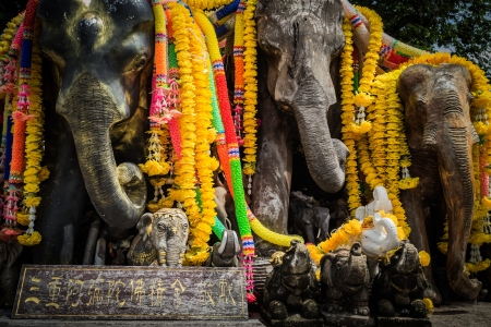 vow: elephant sculpture for redeem a vow in the temple Stock Photo
