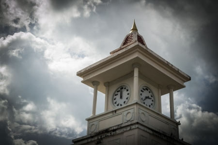 clock tower with cloudy sky, phuket, thailand photo