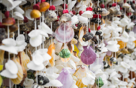 Handicraft from seashell, seashell curtain photo