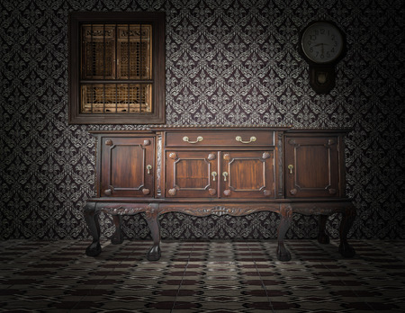 retro room with wallpaper and old wooden cupboard in old style interior photo