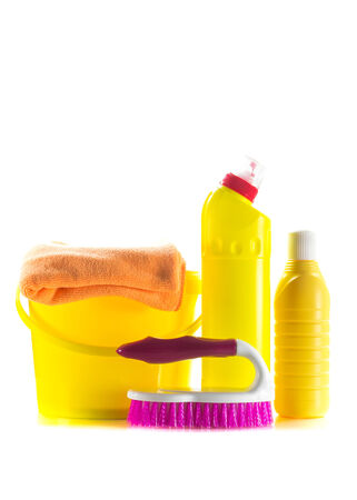set of cleaning products isolated on white background photo
