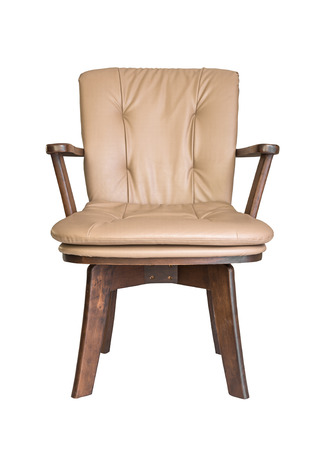 old wooden armchair isolated against white background