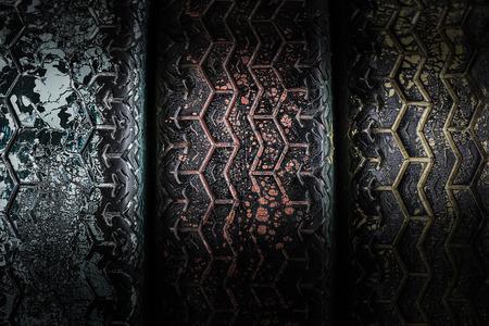 deteriorate: Grunge deteriorate tyre background under the light