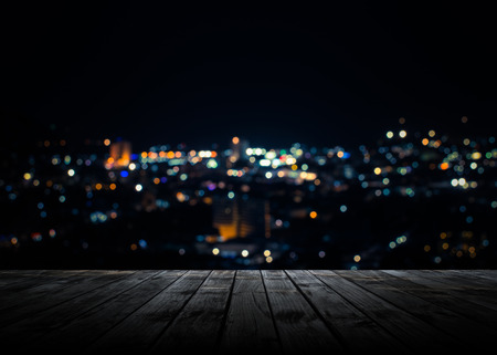 View from wooden plank above phuket town at night Stockfoto