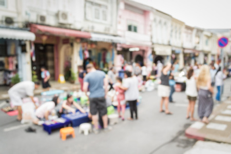 china people: Abstract of blurred people walking on the street in china town