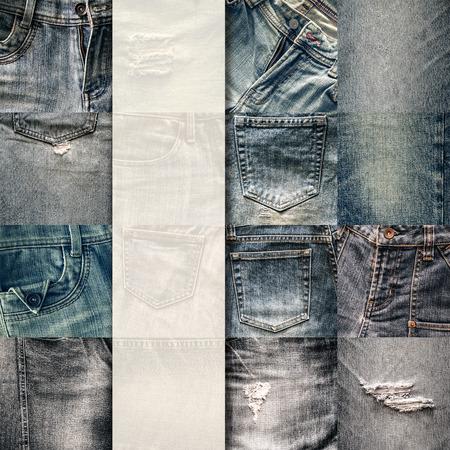 in jeans: Set Collage de fondo vaqueros estilo vintage con blanco para el texto Foto de archivo