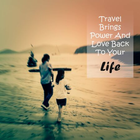 brings: Meaningful quote on blurred people background, travel brings power and love back to your life.