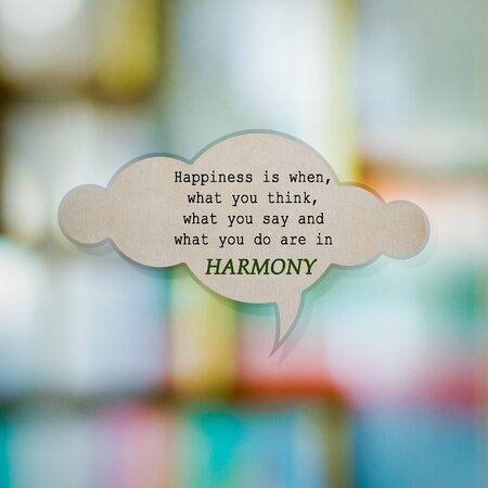 meaningful: Meaningful quote on paper cloud with blurred colorful background, Harmony Stock Photo