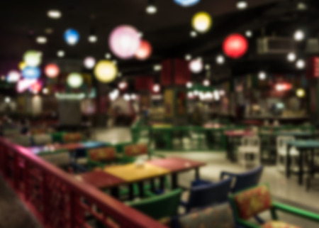 colorful lantern: Abstract of blurred restaurant in chinese style with colorful lantern